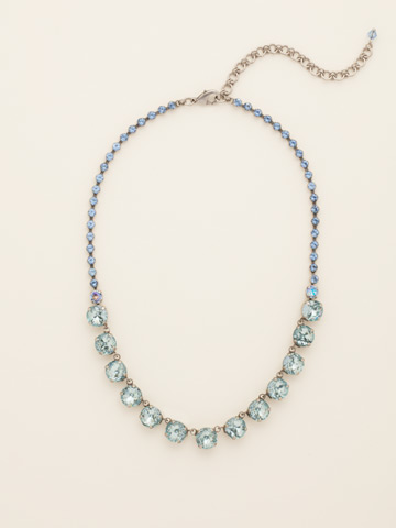 Repeating Rivoli Classic Line Necklace in Antique Silver-tone Running Water