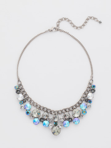 Round Crystal Cluster Bib Necklace in Antique Silver-tone Crystal Rock