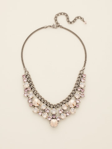 Round Crystal Cluster Bib Necklace in Antique Silver-tone Satin Blush