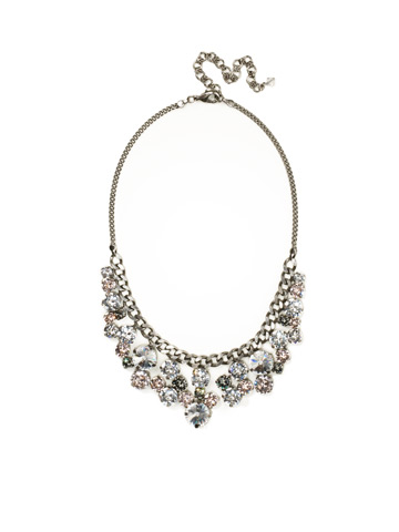 Round Crystal Cluster Bib Necklace in Antique Silver-tone Snow Bunny