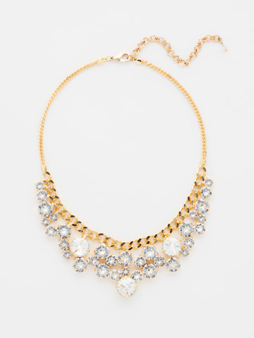 Round Crystal Cluster Bib Necklace in Bright Gold-tone Crystal