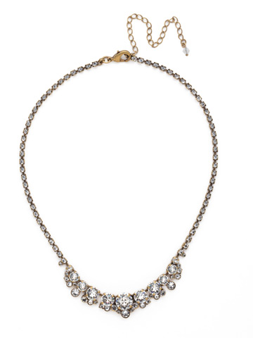 Multi-cut Round Crystal Cluster Line Necklace in Antique Gold-tone Crystal