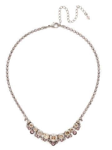 Multi-cut Round Crystal Cluster Line Necklace in Antique Silver-tone Satin Blush