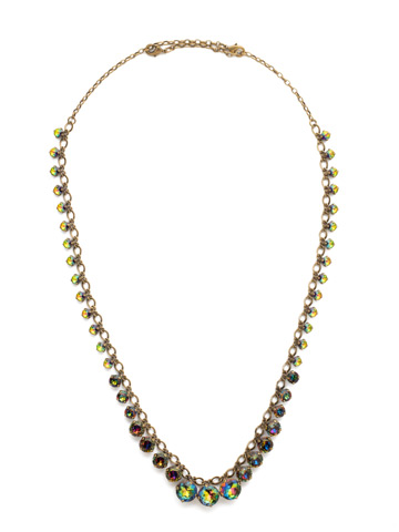 Graduated Round Crystal Long Strand Necklace in Antique Gold-tone Volcano