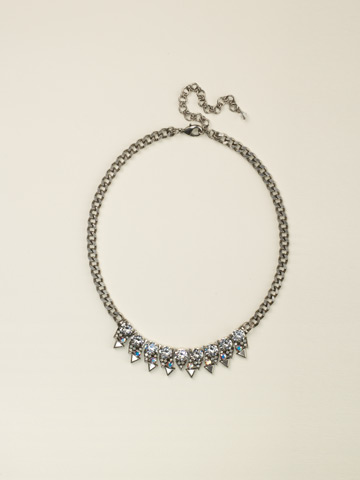 Crystal and Metal Spike Necklace in Antique Silver-tone White Bridal