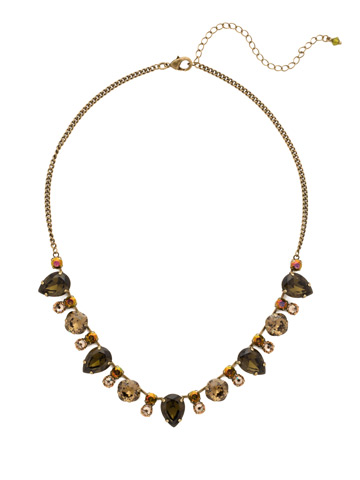 Multi-Cut Crystal Line Necklace in Antique Gold-tone Green Tapestry