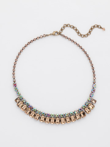 Crystal Octagon Classic Necklace in Antique Gold-tone Neutral Territory