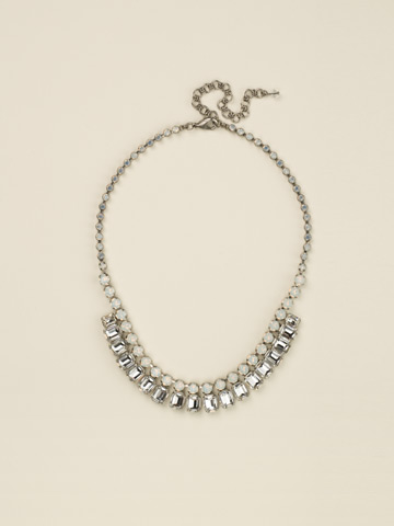 Crystal Octagon Classic Necklace in Antique Silver-tone White Bridal