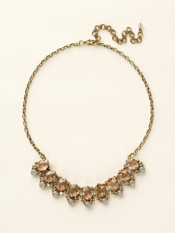 Pointed Crystal Oval Line Necklace in Antique Gold-tone Desert Sun
