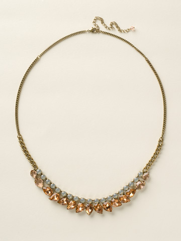 Round and Pear Crystal Line Necklace in Antique Gold-tone Desert Sun