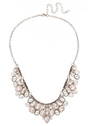 Floral Crystal Cluster Classic Necklace in Antique Silver-tone Soft Petal