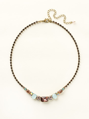 Graduated Geometric Crystal Line Necklace in Antique Gold-tone Sangria