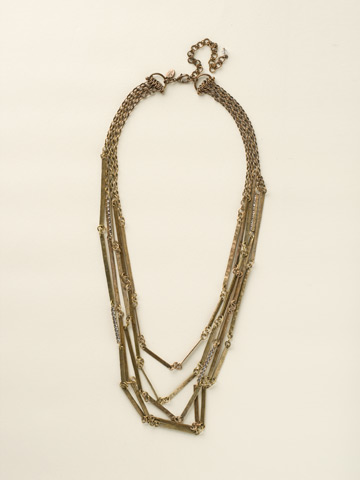 Linked Hammered Metal Multi-Strand Necklace in Antique Gold-tone Crystal