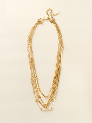 Linked Hammered Metal Multi-Strand Necklace in Bright Gold-tone Crystal
