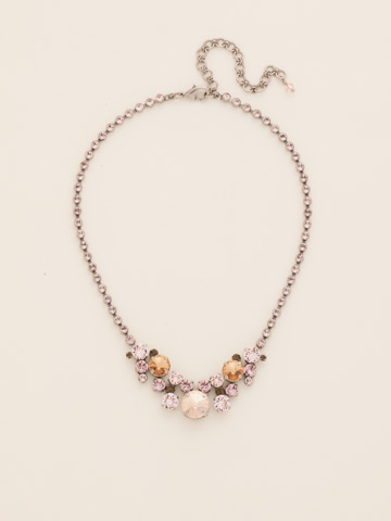 Petite Round Crystal Cluster Line Necklace in Antique Silver-tone Sand Dune