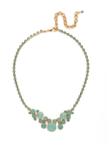 Petite Round Crystal Cluster Line Necklace in Bright Gold-tone Pacific Opal