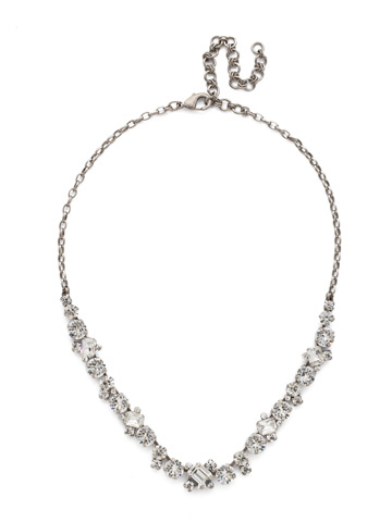 Novelty Multi-Cut Crystal Necklace in Antique Silver-tone Crystal