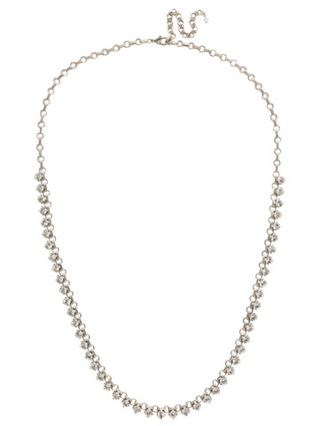 Petite Round Crystal Long Strand in Antique Silver-tone Crystal