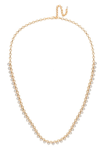 Petite Round Crystal Long Strand in Bright Gold-tone Crystal