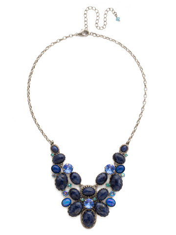 Around the Bend Necklace in Antique Silver-tone Ultramarine