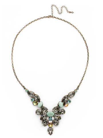 Chambray Statement Necklace in Antique Gold-tone Crystal Patina