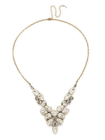 Chambray Statement Necklace in Antique Gold-tone Crystal