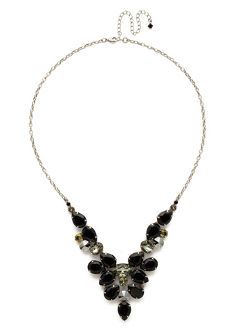 Chambray Statement Necklace in Antique Silver-tone Black Onyx