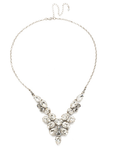 Chambray Statement Necklace in Antique Silver-tone Crystal