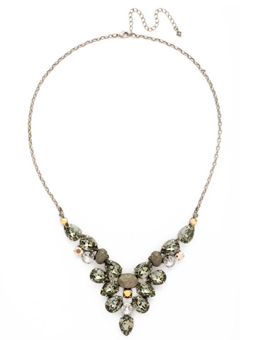 Chambray Statement Necklace in Antique Silver-tone Gold Vermeil