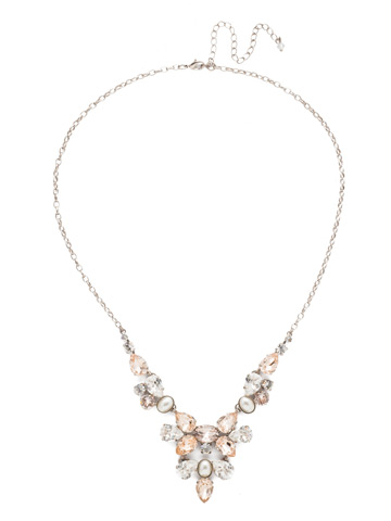Chambray Statement Necklace in Antique Silver-tone Soft Petal