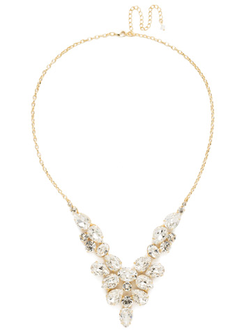 Chambray Statement Necklace in Bright Gold-tone Crystal