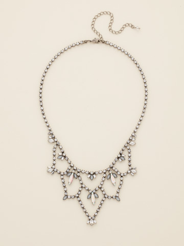 Interlacing Crystal Navette Bib Necklace in Antique Silver-tone White Bridal