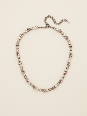 Pear Parade Line Necklace in Antique Silver-tone Satin Blush