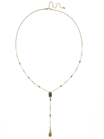 Celestial Filigree Y Necklace in Antique Gold-tone Crystal Patina