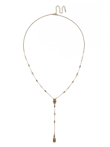 Celestial Filigree Y Necklace in Antique Gold-tone Neutral Territory