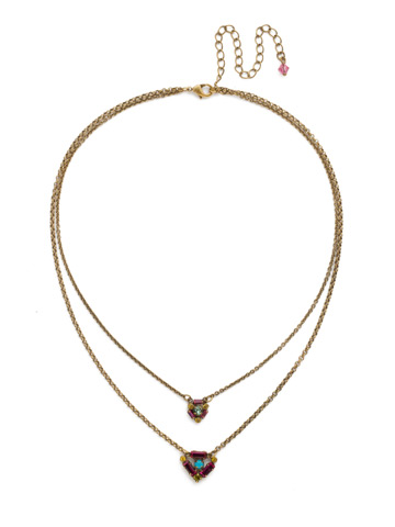 Dazzling Double Strand Layered Necklace in Antique Gold-tone Botanical Brights