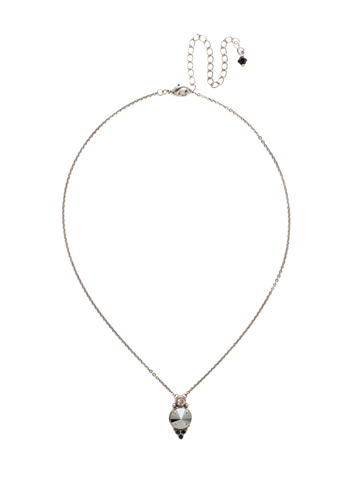 Radiant Round Pendant in Antique Silver-tone Crystal Noir