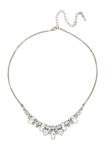 Elegant Navette Necklace in Antique Silver-tone White Bridal
