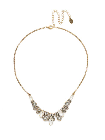 Noveau Navette Necklace in Antique Gold-tone Crystal
