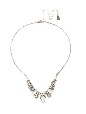 Noveau Navette Necklace in Antique Silver-tone Crystal