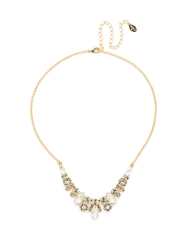 Noveau Navette Necklace in Bright Gold-tone Crystal