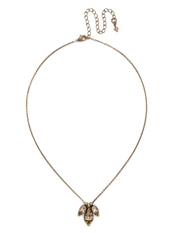 Embroidered Trifecta Pendant in Antique Gold-tone Neutral Territory