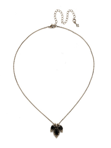Embroidered Trifecta Pendant in Antique Silver-tone Black Onyx
