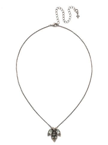 Embroidered Trifecta Pendant in Antique Silver-tone Crystal Rock