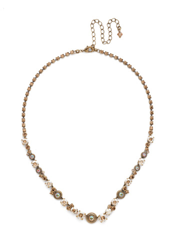 Macrame Line Necklace in Antique Gold-tone Neutral Territory