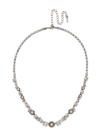 Macrame Line Necklace in Antique Silver-tone Crystal