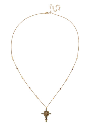 Celestial Cross Pendant in Antique Gold-tone Mahogany