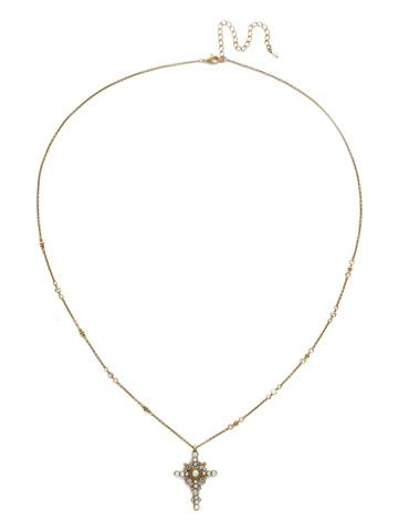 Celestial Cross Pendant in Antique Gold-tone Snowflake
