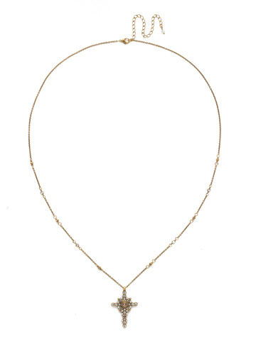 Celestial Cross Pendant in Antique Gold-tone White Magnolia