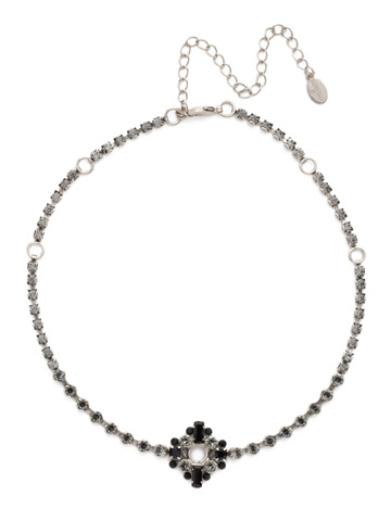 Spot On Choker in Antique Silver-tone Black and White
